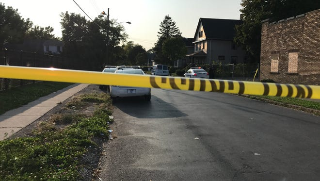 Rochester police on scene of a fatal shooting on Bernard Street, near Hudson Avenue, Wednesday afternoon.