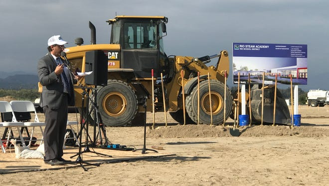 Rio School District Superintendent John Puglisi speaks at the groundbreaking ceremony Wednesday of the district's newest school, set to open next fall.