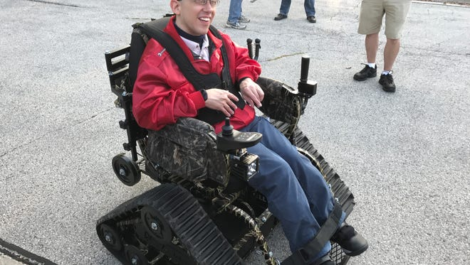 Andy Sterzen tests out a new track chair in Sheboygan Falls on Tuesday, Sept. 19. Those with mobility issues can rent the chair to explore the outdoors.