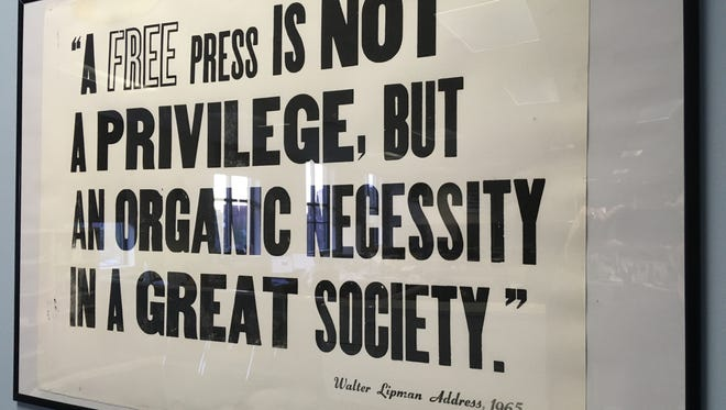 A quote from Walter Lippmann from 1965, printed at Austin Peay State University and now part of The Leaf-Chronicle's First Amendment collection.