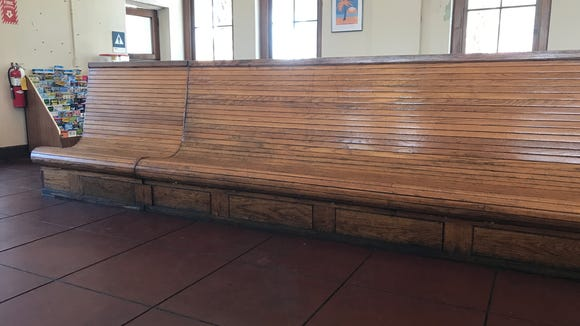 Benches for consumers awaiting their train are beautiful,