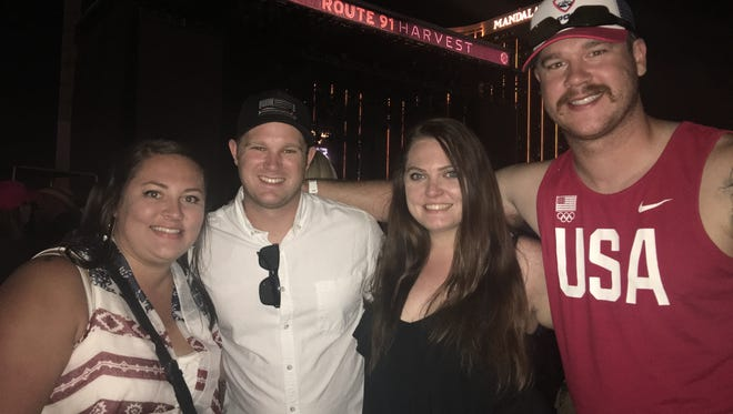 From left to right, Ali Pendergrass, Nick Pendergrass, Alicia Hounsley and Tyler Hickman attended the Route 91 Harvest Festival in Las Vegas. They were at the Jason Aldean concert on Sunday night, when a gunman killed 59 people and injured more than 500 other people in the deadliest mass shooting in U.S. history.