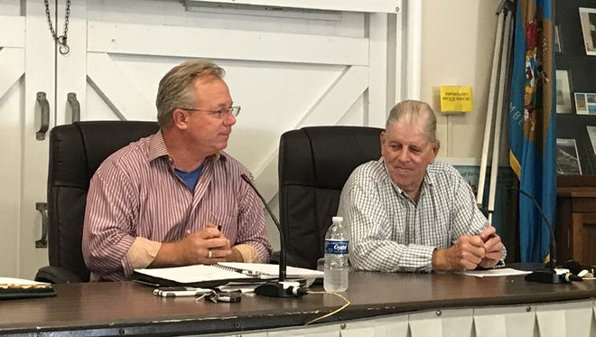 Dewey Beach Mayor TJ Redefer and former town mayor Dale Cooke speak at Saturday's town commission meeting.