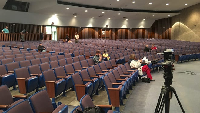 Sparse attendance at a town hall forum last fall at Central High School auditorium on the topic of school finances. This was the scene about five minutes before the start of the session.