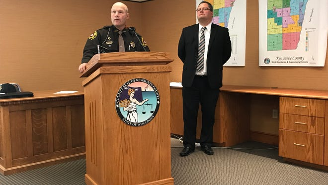 Kewaunee County Sheriff Matt Joski and Kewaunee County District Attorney Andrew Naze addressed reporters during a news conference Tuesday related to an officer involved shooting. Naze did not press charges against Sheriff's deputy Jamie Tlachac