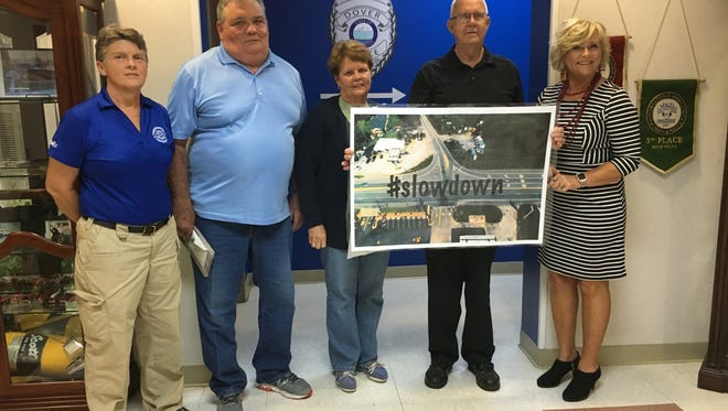 The Town of Dover is beginning a campaign to slow motorists in the area of the Donelson Parkway and The Trace intersection. From left is City Manager and Police Chief Kim Wallace. Alderman Terry Odom, Alderwoman Jane Burkhart, Alderman Paul Berry and Mayor Lesa Fitzhugh.