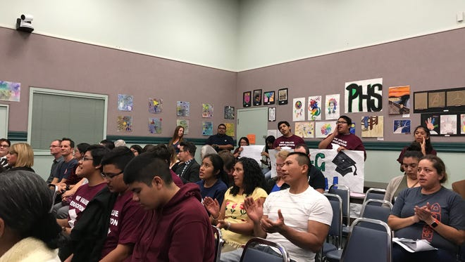 Students gathered at Wednesday's board meeting to ask for the graduation requirements be aligned with A-G.