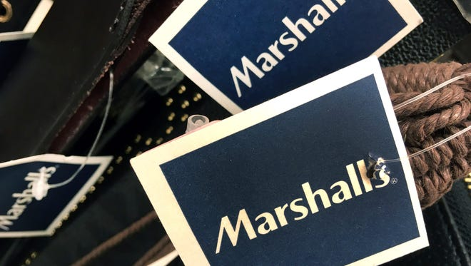 In this Tuesday, May 16, 2017, photo, Marshalls tags are attached to merchandise in a store in Methuen, Mass. On Friday, Oct. 13, 2017, the Commerce Department releases U.S. retail sales data for September.