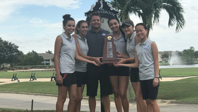 Led by Brittany Shin's 72, Canterbury's girls golf team won the District 1A-17 championship with a 357 total. Canterbury team members: Brittany Shin, Hannah Bailey, Alice Bailey, Alyson Bozof, Ingrid Leigh; head coach Derek Carlson