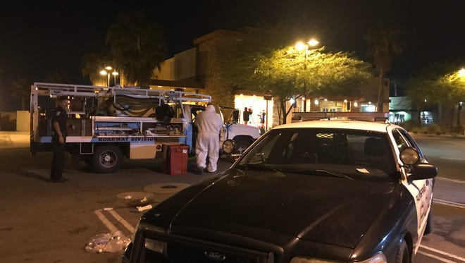 Police are investigating a shooting that occurred in Desert Hot Springs Thursday night but led the victim to this Palm Springs parking lot.