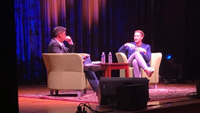 For homecoming at The College at Brockport, Abby Wambach and D&C reporter Jeff DiVeronica talked about her life, career and retirement. Oct. 21, 2017.
