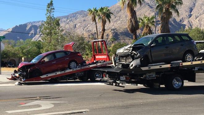 A Nissan Sentra and a Toyota Matrix were destroyed in an Oct. 16 collision at Vista Chino and Via Miraleste in Palm Springs. Police confirmed the collision happened after the Toyota's driver made an unsafe left turn in front of the Nissan.