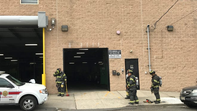 """Paterson Fire at the scene Monday where they discovered mason jars with """"an unknown substance."""" No injuries reported."""
