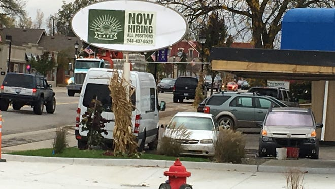 The now hiring sign is out at the Good Day Cafe, which will soon be opening at the site of the former Brown's Root Beer in South Lyon.