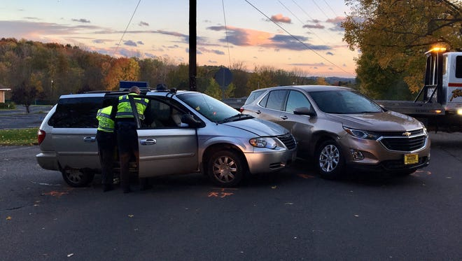 A silver mini-van ran a stop stop sign and hit a tan SUV on Oct. 24 at Grace Street and Stewart Road. The passenger in the van died on Oct. 27 at OhioHealth Mansfield Hospital.