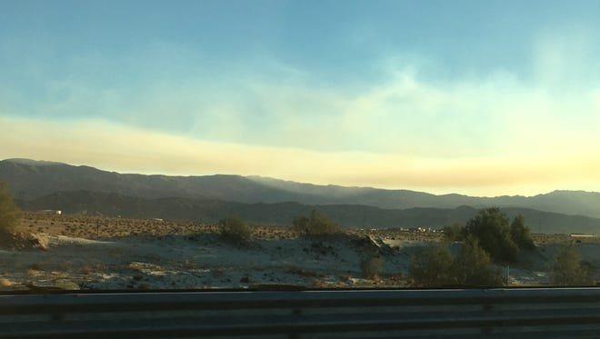 A Joshua Tree National Park fire created smoke that's visible in the Coachella Valley Tuesday.