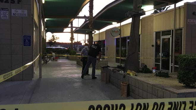 Palm Springs police investigate a double stabbing that happened early Wednesday in the shopping center at Ramon Road and Sunrise Way. Two men were in serious but stable condition at a local hospital.