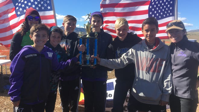 The Preston Middle School boys team won the state cross country meet on Saturday. Team members are Will Boyle, Chase McArtor, Cole Nero, Luke Spencer, Jalen Schmieg, Alex Borunda and coaches Shannon Teslow and Laura Ward. Not pictured Tyler Sledz