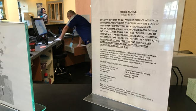 A flyer was posted at Evolutions Fitness and Wellness Center in Tulare notifying members of its suspended services.