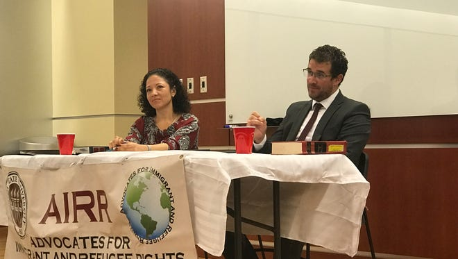 Llovera (left) and Arias (right) discuss the future of DACA recipients and immigrant rights at an Advocates for Immigrants & Refugee Rights at FSU Law meeting.