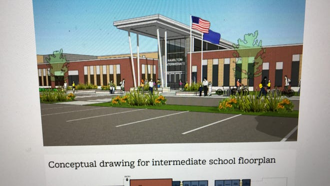 A rendering of a proposed new intermediate school is displayed on the Hamilton School District's HamiltonGrows.com website.