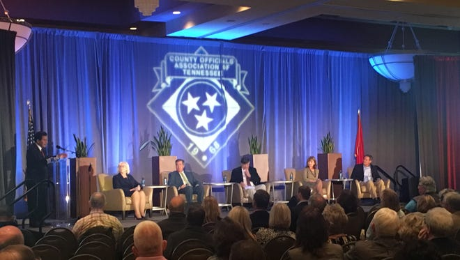 The opioid epidemic, tax cuts, Nashville Mayor Megan Barry's transportation plan and the autonomy of local government were the subject of conversation for local gubernatorial candidates who visited the County Officials Association of Tennessee annual meeting in Cool Springs Wednesday