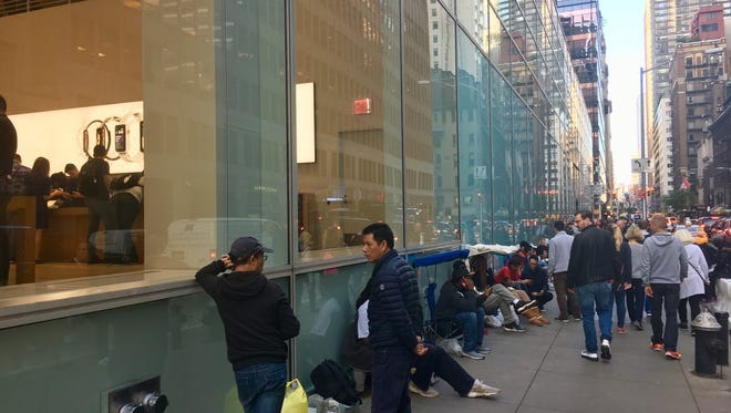 Crowds gather at the Fifth Avenue Apple Store ahead of the iPhone X launch.