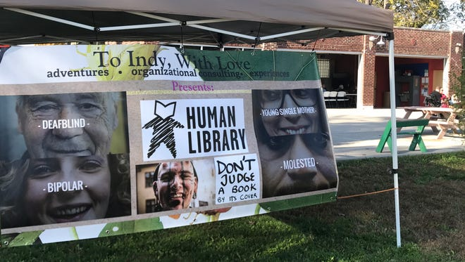The sign outside of Indy's 1st Human Library in Fountain Square on November 3, 2017.