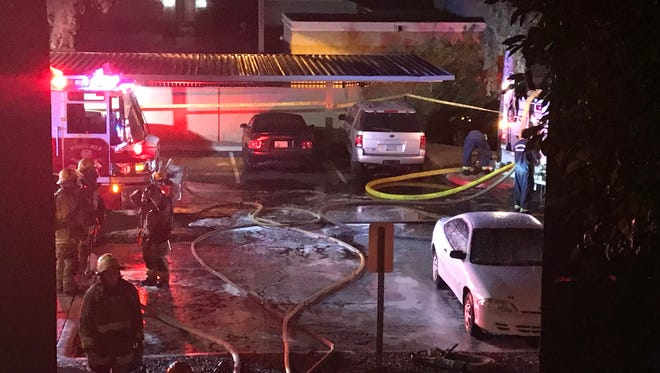 Several residents were injured and displaced after fire tore through a north Phoenix apartment building early Saturday, Nov. 4, 2017.