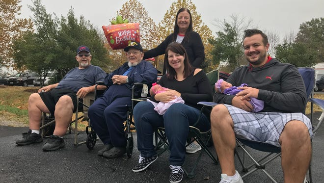 Pictured from left are Joseph Hoffman Jr., Joseph Hoffman Sr., Karen Hoffman, Jessica and Adelyn Freeman, Brett and Evelyn Freeman.