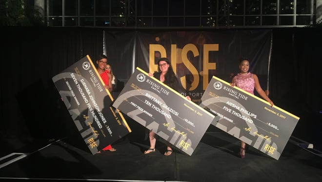 Djenaba Johnson-Jones, Brittany Graziosi and Aiesha Phillips are winners of the Rising Tide Capital's Start Something Challenge.