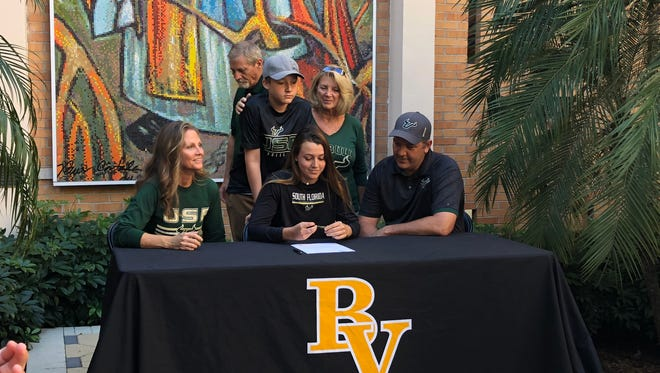Bishop Verot third baseman Tayli Filla signed a National Letter of Intent to attend the University of South Florida.