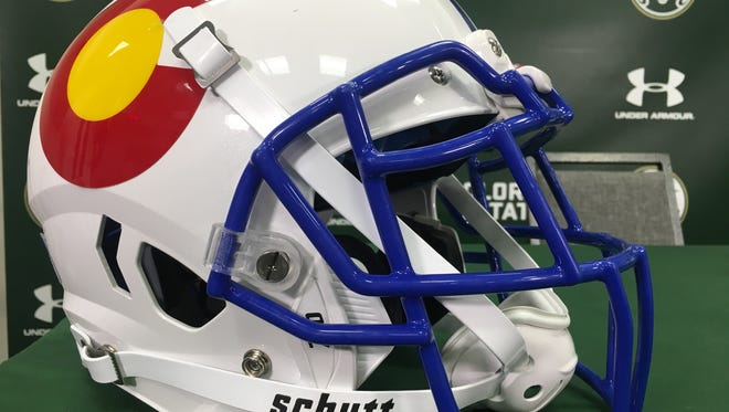 """The """"state-pride"""" helmets the CSU football team will wear for Saturday's game against Boise State."""