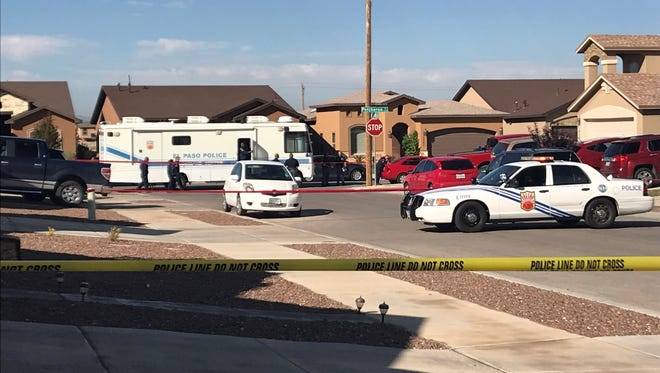 Police investigate a deadly double shooting Thursday in the 14500 block of Ava Leigh Avenue. The suspect later also fatally shot himself while driving a truck, police said.