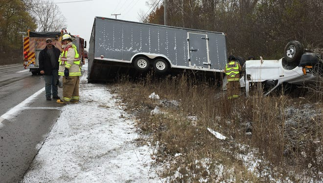 A truck rolled over on Griswold Road in Port Huron Township Friday afternoon.