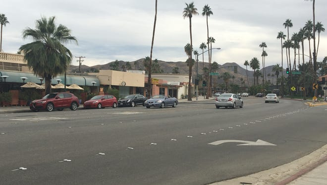 Traffic flows along South Palm Canyon Drive in Palm Springs Sunday. A Southern California Gas Company project has been causing weekday delays on the road for weeks, but work is scheduled to wrap up in two weeks.