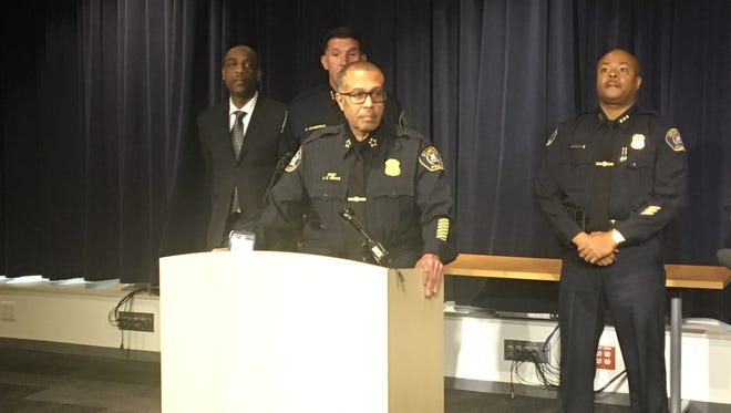 Detroit Police Chief James Craig holds a news conference on Monday, Nov. 13, 2017, about an incident that unfolded involving officers from two precincts Thursday night.