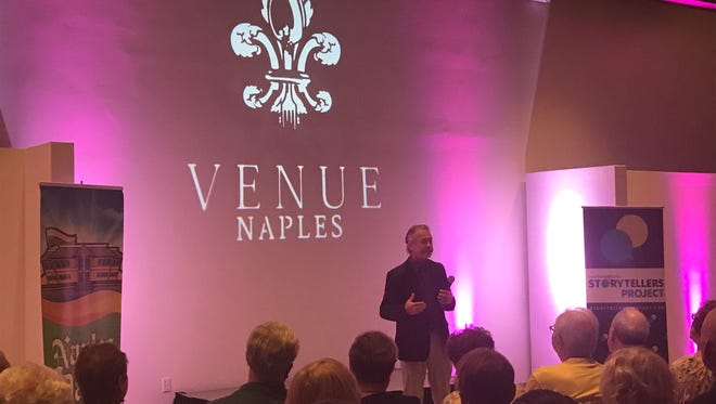"""Massimo """"Max"""" Puglielli, chef and owner of Mino Ristorante in Naples, speaks during the inaugural Storytellers Project event, put together by the Naples Daily News."""