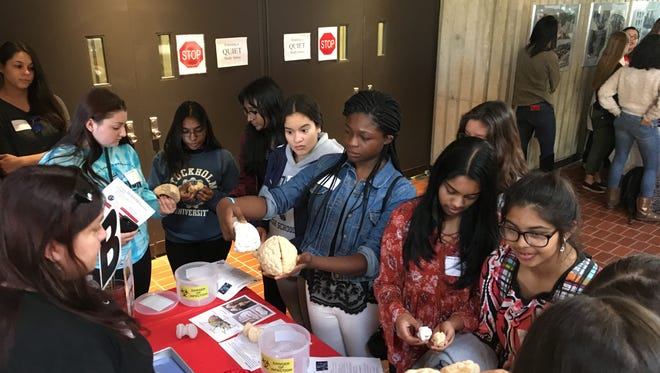 18 High Schools throughout New Jersey participate in the first ever young women in Bio event at Rutgers.