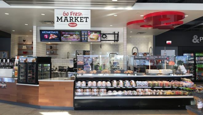 """What you see when you walk in the front door: the Go Fresh Market at the new Kum & Go at 1005 W. 11th St. in Sioux Falls. The store is a new """"food first"""" concept, the first store of its kind for Kum & Go in Sioux Falls."""