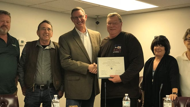 Tuesday marked Gary Norwood's last meeting serving on the Ashland City Council, where he was presented with a certificate of appreciation. He announced in September he would resign after more than 40 years working for the town.