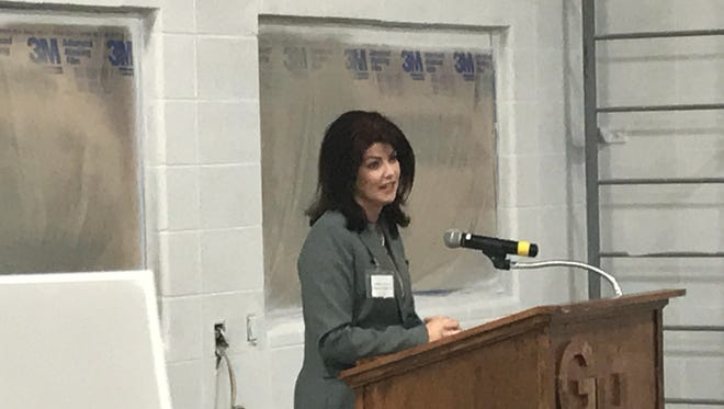 Wisconsin Lt. Gov. Rebecca Kleefisch speaks at a gathering held after a tour of areas under construction at Germantown High School on Wednesday, Nov. 15, as part of the 2016 referendum.