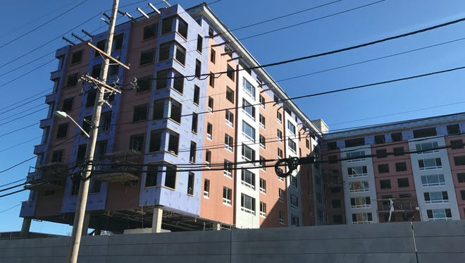 A new apartment building is under construction at 1475 Palisade Ave. in Teaneck.