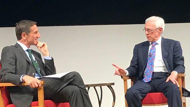 MSNBC military analyst Jack Jacobs, right, speaks with Keith Strudler of Montclair State University during an event on Wednesday at MSU.