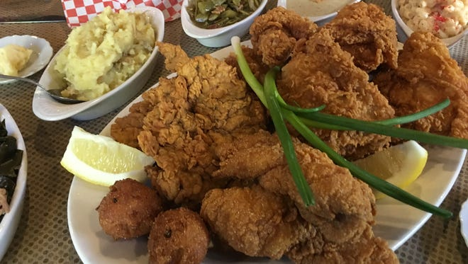 The Sunday all-you-can-eat lunch at Joes' features your choice of fried chicken, fried catfish or chicken fried steak, along with sides.