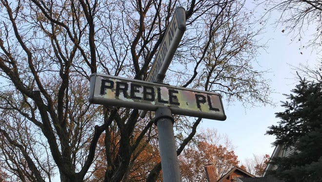 A street sign for Preble Place in Rutherford.