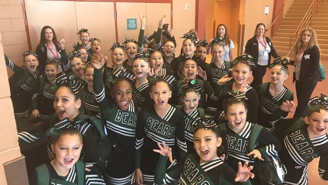 The Naples Bears pee-wee cheerleaders will compete for a Pop Warner national championship at Disney's Wide World of Sports complex Tuesday. Members of the team include: Alia El-Yamani, Angelina Osceola-Lugo, Cara Naso, Carly Woods, Cheyenne Nipper, Eliska Slavik, Emily McIntosh, Emily Samadh, Evelyn Barber, Hailey Shepard, Haley Cousins, Hayle Peck, Haylee LeVasseur, Jade Abreu, Jessica Pena, Kacie Madercic, Kadence Perez, Katelyn Henderson, Katrina Miner, Lara Chevaldova, Madison Hoevy, Mailuby Figueredo, Marissa McKechan, McKensie Smith, Mia Comperatore, Priscella Decembre, Talayeh Townsend, Taylor Hoefert and Vivian Chevaldova. The team is coached by Andrea Cousins.