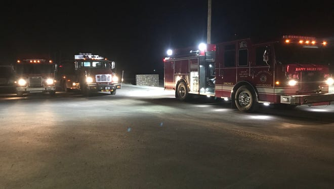 Eddy County volunteer fire departments staged at the Otis Volunteer Fire Department following a suspected pipeline explosion on Highway 31 north of Loving Dec. 6.
