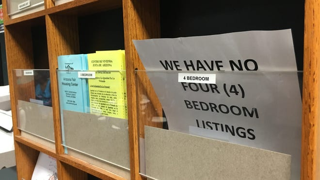 A sign in the city of Tempe's Housing Services office warns there are no 4-bedroom apartment listings left.
