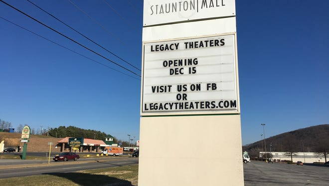 Legacy Theaters is set to open Friday, Dec. 15 at the Staunton Mall.